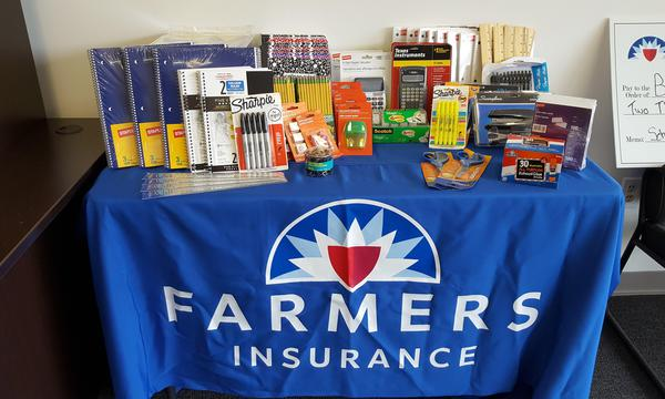 Farmers booth with school supplies