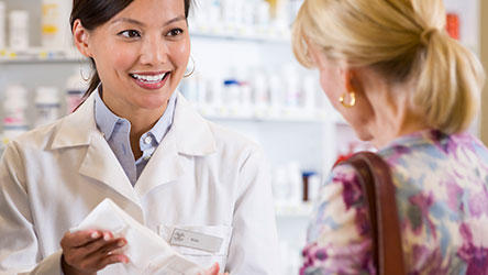 Pharmacist talking with a patient