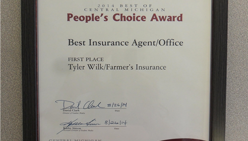 2014 Central Michigan People's Choice Award for Best Insurance Agent- Tyler Wilk