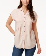 Image of Style & Co Pleated Cuffed-Sleeve Top, Created for Macy's