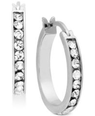 Image of Essentials Silver Plated Small Crystal Hoop Earrings