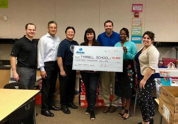Agency Insurance Services - Donating Supplies to Tyrrell Elementary