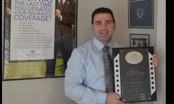 Bo Bolinger Farmers Insurance New Business Award