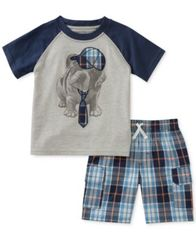 Image of Kids Headquarters 2-Pc. Graphic-Print T-Shirt & Plaid-Print Shorts Set, Baby Boys