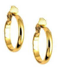 Image of Anne Klein Gold-Tone Glass Stone Medium Width Hoop E-Z Comfort Earrings
