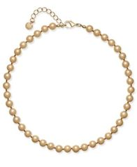 Image of Charter Club Champagne Imitation Pearl Collar Necklace, Created for Macy's