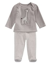 Image of First Impressions 2-Pc. Cotton Giraffe T-Shirt & Footed Pants Set, Baby Boys or Girls, Created for M