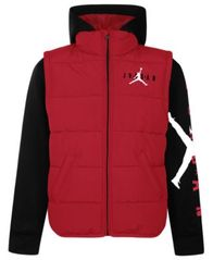 Image of Jordan Little Boys Layered-Look Hooded Puffer Jacket