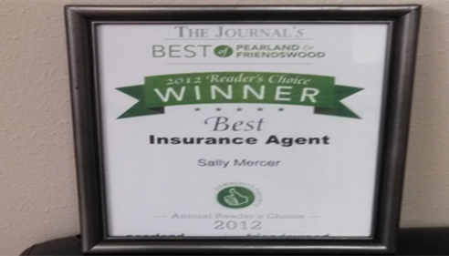 Voted Best Insurance Agent-- Pearland Journal 2012