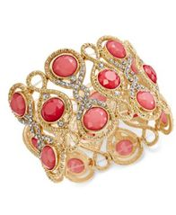 Image of INC International Concepts Gold-Tone Stone and Crystal Filigree Stretch Bracelet, Created for Macy's