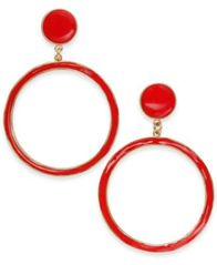 Image of I.N.C. Gold-Tone Enamel Gypsy Hoop Earrings, Created for Macy's