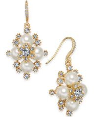 "Image of Charter Club Medium Gold-Tone Crystal & Imitation Pearl Snowflake Drop Earrings, 1.25"", Created for"