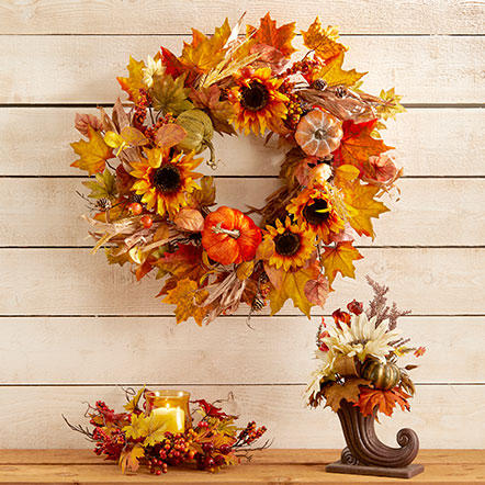 Fall Decor - Assorted fall decor, including fall foliage, wreaths and decorative figurines