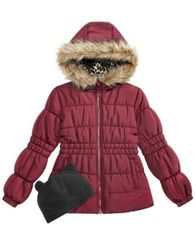 Image of Weathertamer Big Girls Puffer Coat with Faux Fur Trimmed Hood