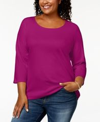 Image of Karen Scott Plus Size Cotton Scoop-Neck Top, Created for Macy's