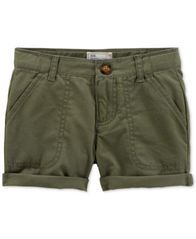 Image of Carter's Cotton Twill Rolled Cuff Shorts, Toddler Girls