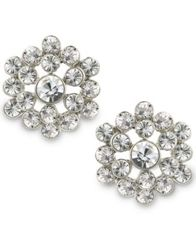 Image of 2028 Silver-Tone Crystal Cluster Button Earrings, a Macy's Exclusive Style