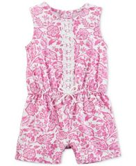 Image of Carter's Baby Girls Printed Lace-Trim Cotton Romper