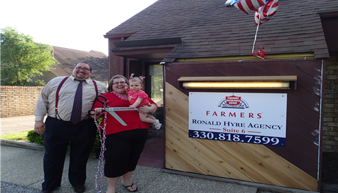 Ronald Hyre, wife Rachel Hyre, daughter Kenzie Hyre at ribbon cutting of former office location, spring 2013