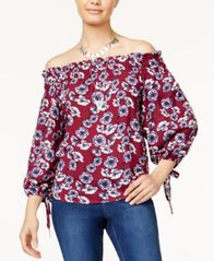 Image of 7 Sisters Juniors' Printed Off-The-Shoulder Top