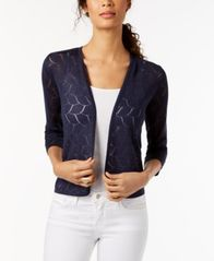 Image of Charter Club Cropped 3/4-Sleeve Cardigan, Created for Macy's