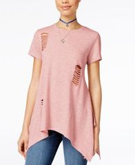 Image of Say What? Juniors' Cutout Handkerchief-Hem Tunic T-Shirt