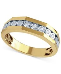 Image of Beautiful Beginnings Men's Diamond Wedding Ring (1/8 ct. t.w.) in 14k Yellow Gold