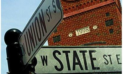 A crossroads - two street signs showing the intersection of Union St and State St