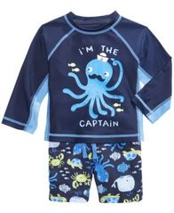 Image of First Impressions 2-Pc. Octopus Rash Guard & Swim Trunks Set, Baby Boys, Created for Macy's