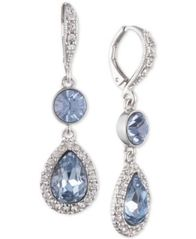 Image of Givenchy Silver-Tone Crystal & Stone Double Drop Earrings