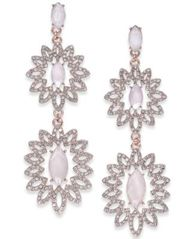 Image of I.N.C. Rose Gold-Tone Pavé & Colored Stone Double Drop Earrings, Created for Macy's