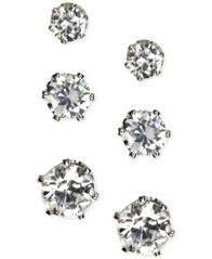 Image of Anne Klein Silver-Tone Glass Stone Stud Earring Set