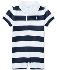 Image of Ralph Lauren Striped Rugby Cotton Romper, Baby Boys
