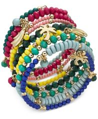 Image of I.N.C. Gold-Tone Multi-Charm Beaded Coil Bracelet, Created for Macy's
