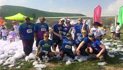The Parmley Insurance Agency 5k Race Team at the Flux Color Run