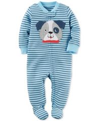 Image of Carter's 1-Pc. Striped Dog Footed Coverall, Baby Boys (0-24 months)