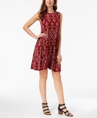Image of Style & Co Printed Sleeveless A-Line Dress, Created for Macy's