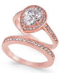 Image of Charter Club Rose Gold-Tone 2-Pc. Set Cubic Zirconia Teardrop Ring & Band, Created for Macy's