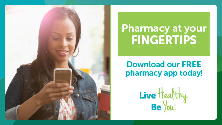 Lady with her cell phone and a cup of coffee. Pharmacy at your fingertips.  Download our free pharmacy app today.