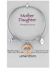 Image of Unwritten Two-Tone Mother & Daughter Charm Bangle Bracelet in Rose Gold-Tone & Stainless Steel