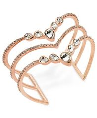 Image of I.N.C. Rose Gold-Tone Crystal Triple-Row Cuff Bracelet, Created for Macy's