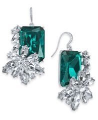 Image of Charter Club Silver-Tone Emerald Crystal & Stone Drop Earrings, Created for Macy's