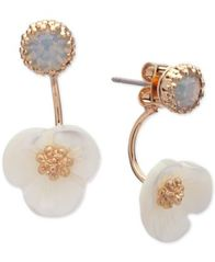 Image of lonna & lilly Gold-Tone White Flower Front and Back Earrings