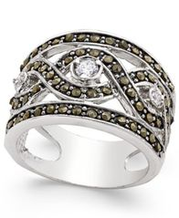 Image of I.N.C. Silver-Tone Crystal Braided Statement Ring, Created for Macy's