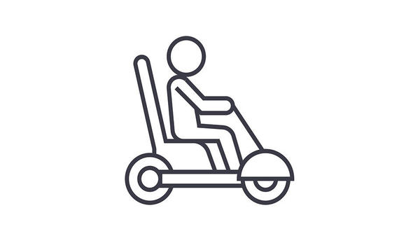 illustration of a person on a motorized scooter