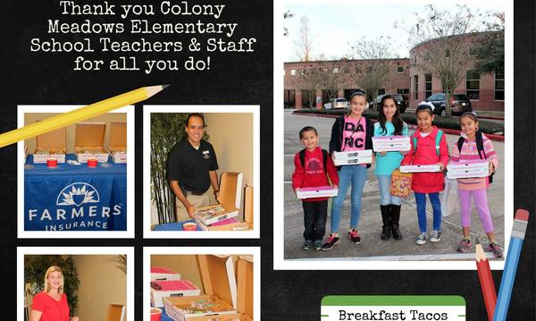 Giving back to our Community... Breakfast tacos for Teachers at Colony Meadows Elementary!