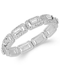 Image of Charter Club Silver-Tone Crystal Baguette Stretch Bracelet