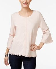 Image of Style & Co Petite Crochet-Trim Lantern-Sleeve Top, Created for Macy's