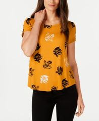 Image of Alfani Petite Printed Round-Hem T-Shirt, Created for Macy's