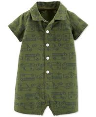 Image of Carter's Baby Boys Rescue Vehicle-Print Cotton Romper